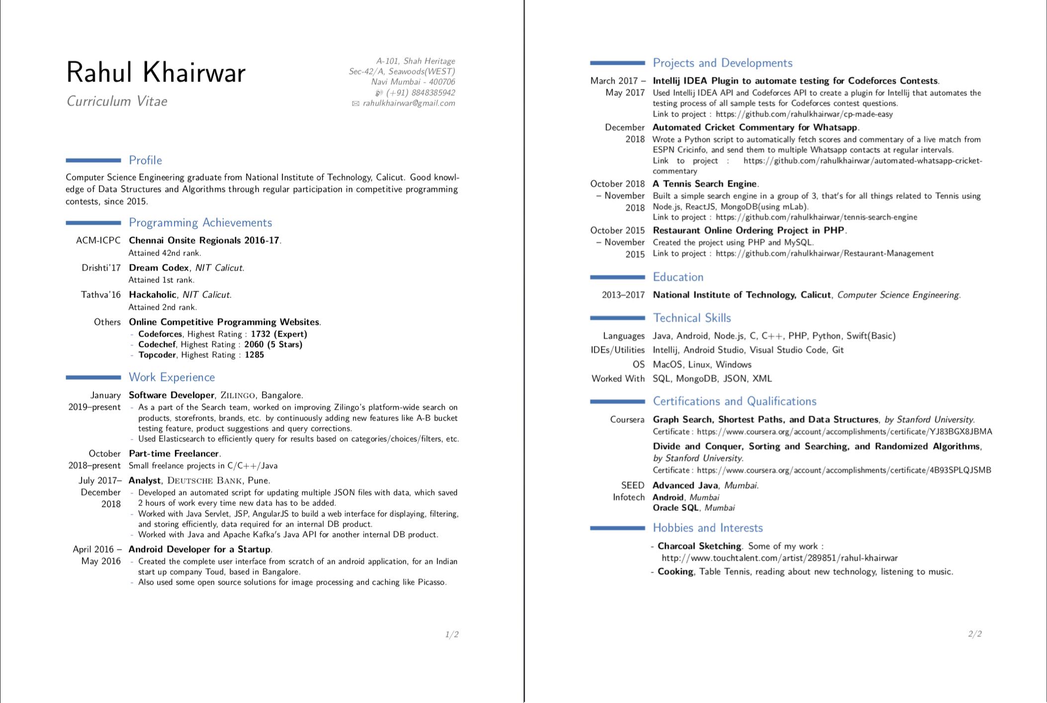 Github Rahulkhairwar Curriculum Vitae Latex Source For My Cv