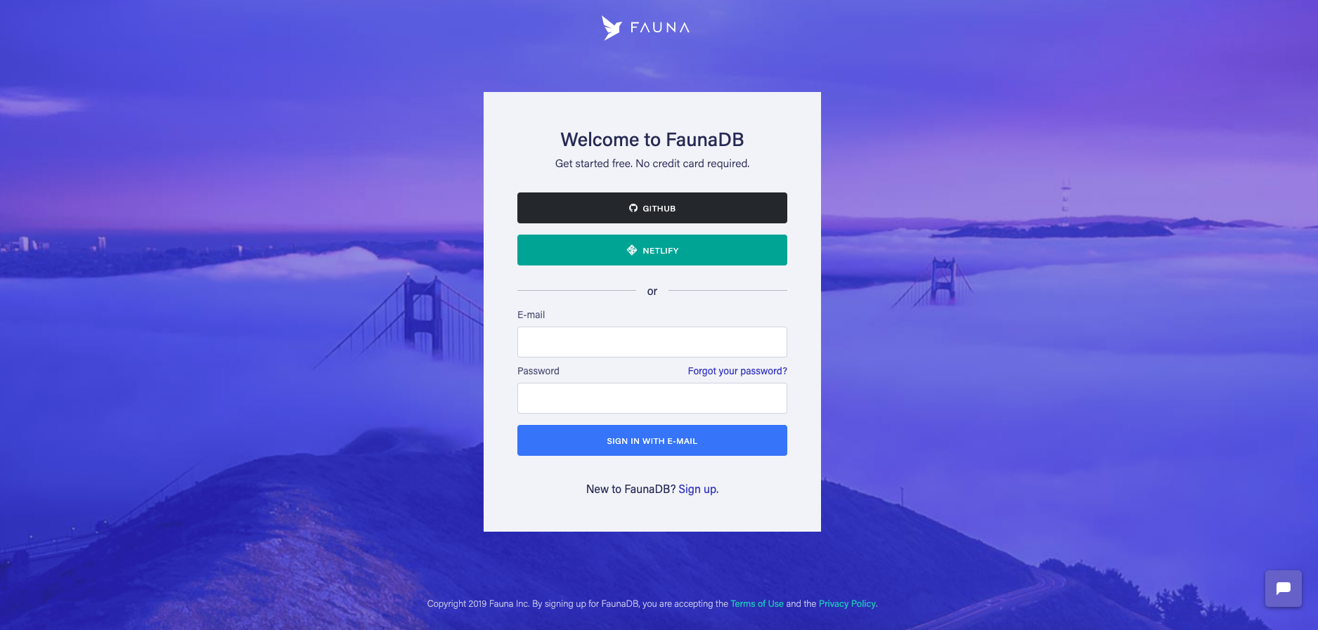 Sign up for Fauna