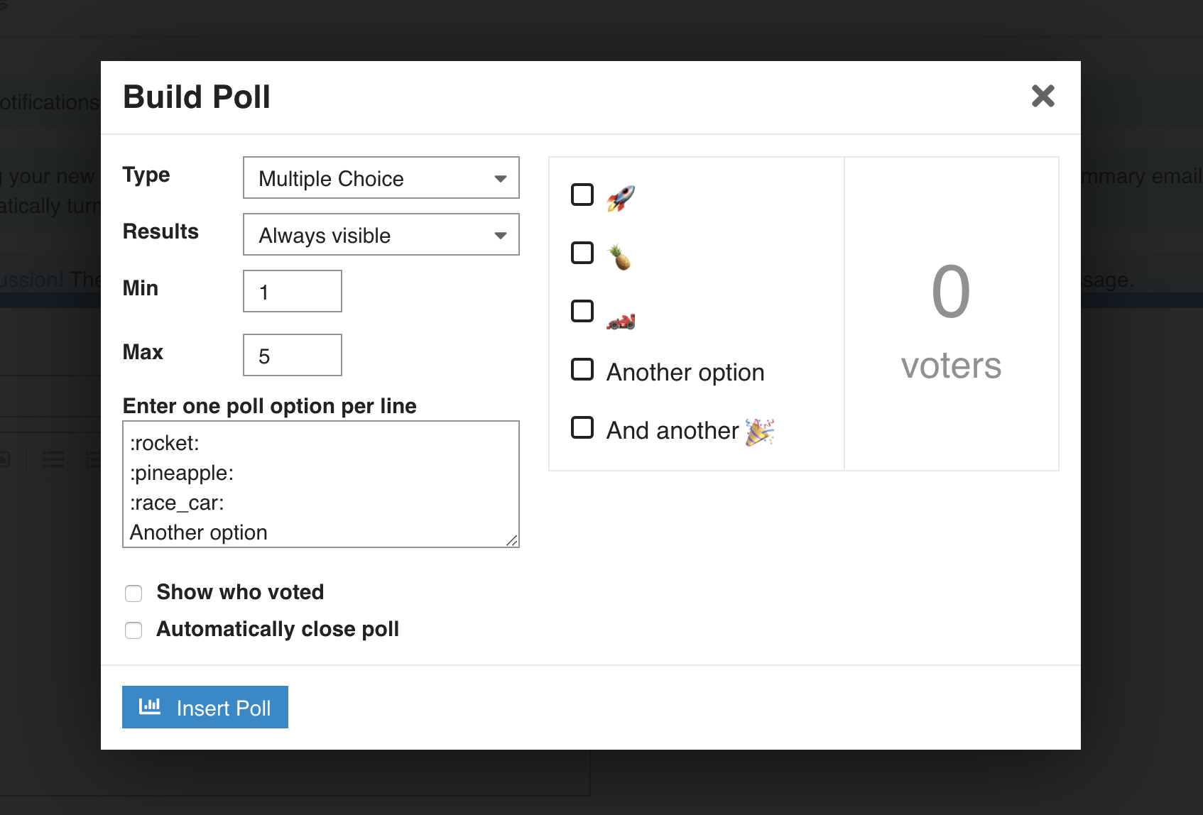 poll builder preview