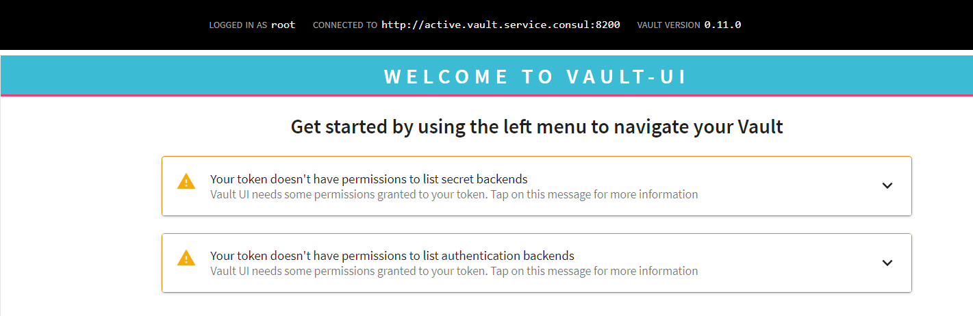 vault ui - Error: No permissions to list secret backends · Issue #2