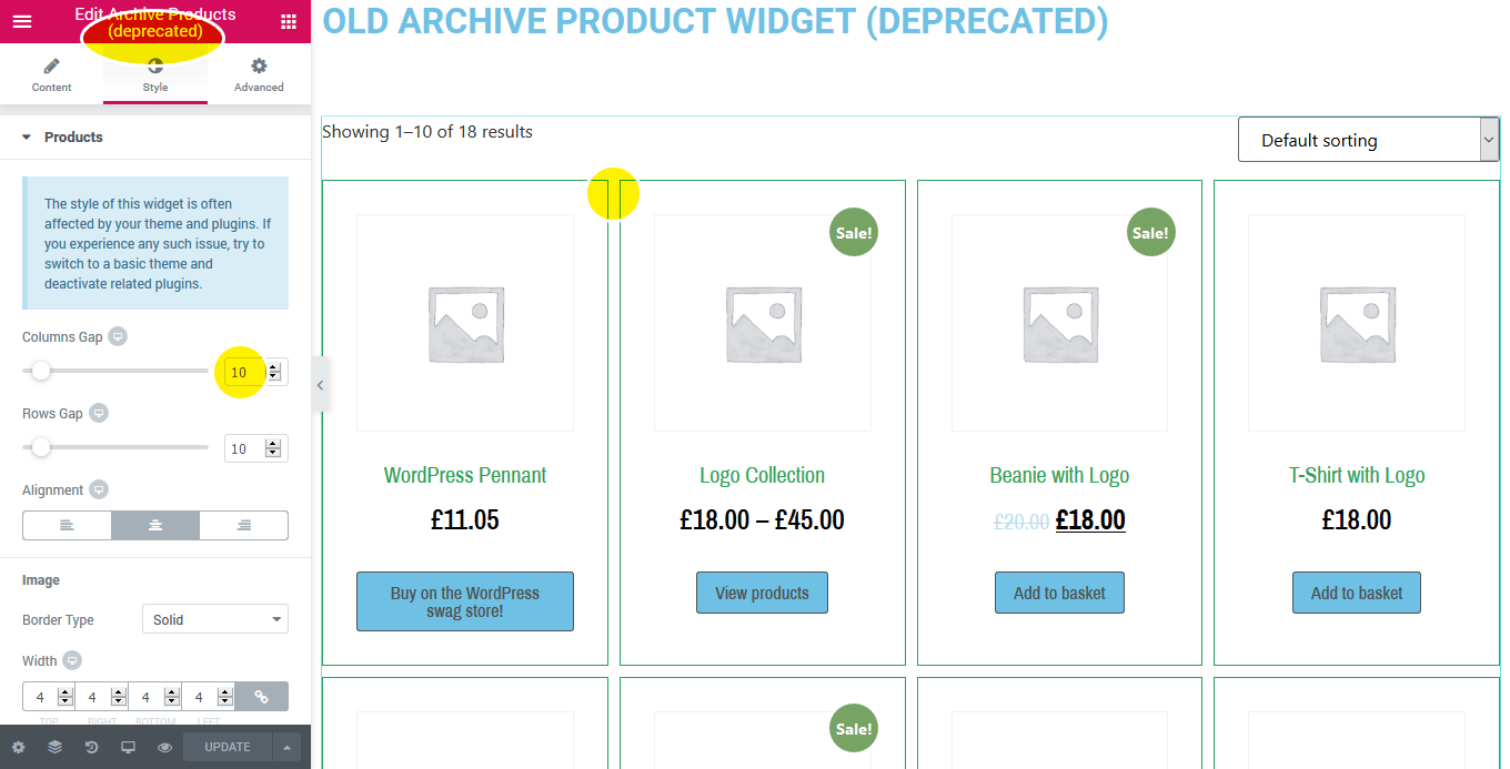 WooCommerce Archive Products Widget - Column Spacing · Issue