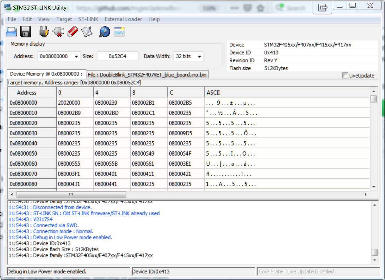 How to program blue STM32F407VET with st-link v2 and stm32duino?