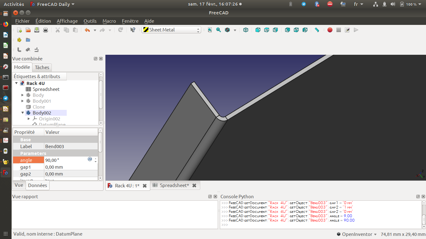 creating a gap breaks the bend on freecad 0 17 body · Issue