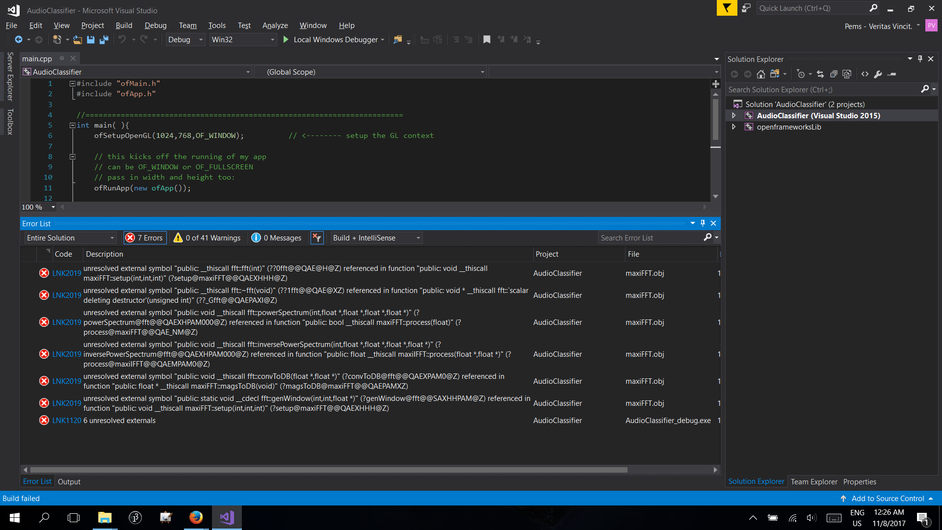Error when compiling AudioClassifier app using VisualStudio · Issue