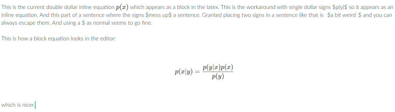 Inline equations exported as block equations in pdf, or