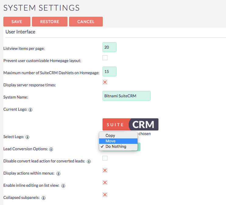 Some SutieCRM settings cannot be changed · Issue #84