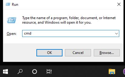 using run method to open cmd