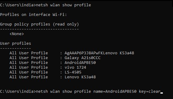 showing wifi list