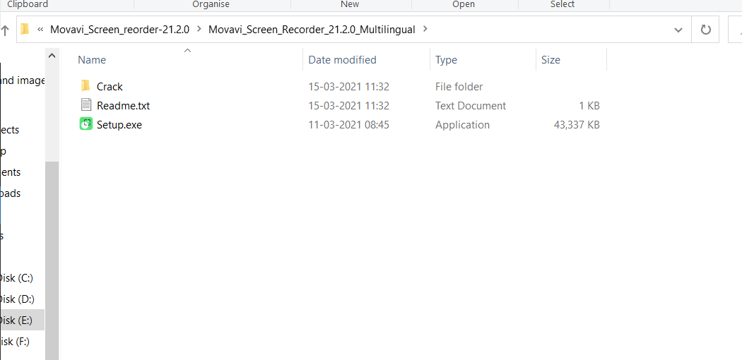 Folders in Movavi Screen recorder