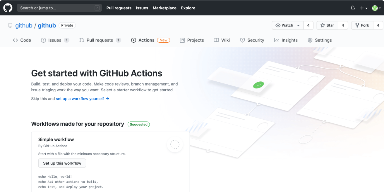 Screenshot of the empty state for GitHub actions