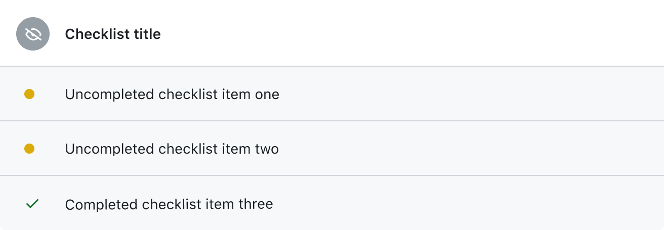 Example of a checklist on GitHub with two uncompleted tasks and one completed task