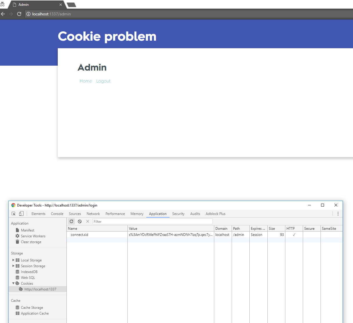 I can't delete the session ID cookie after destroying the