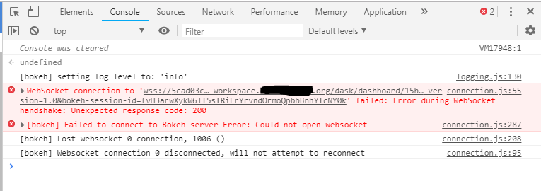 Failed to connect to Bokeh server Error: Could not open websocket