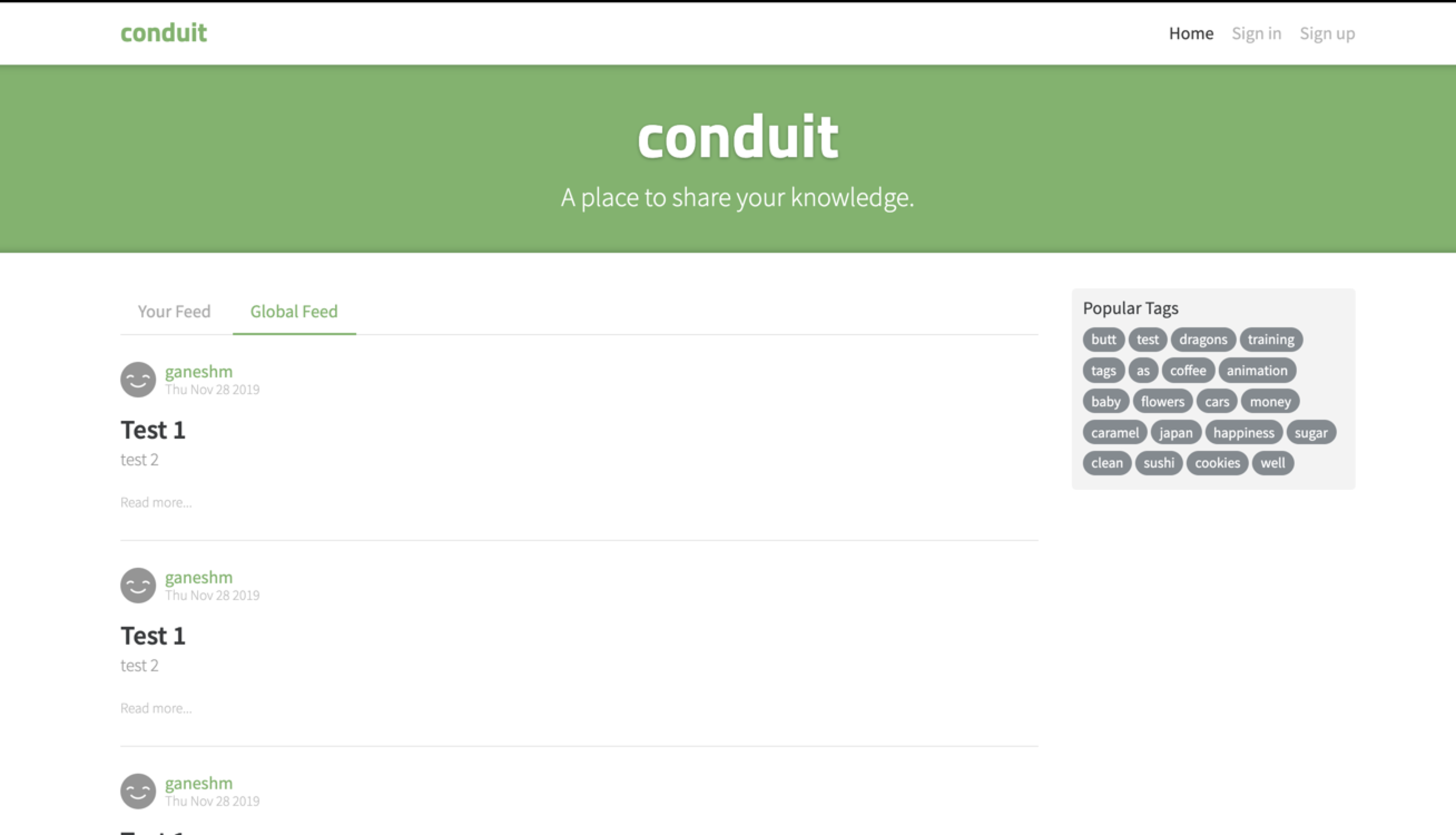 Screenshot of RealWorld Svelte