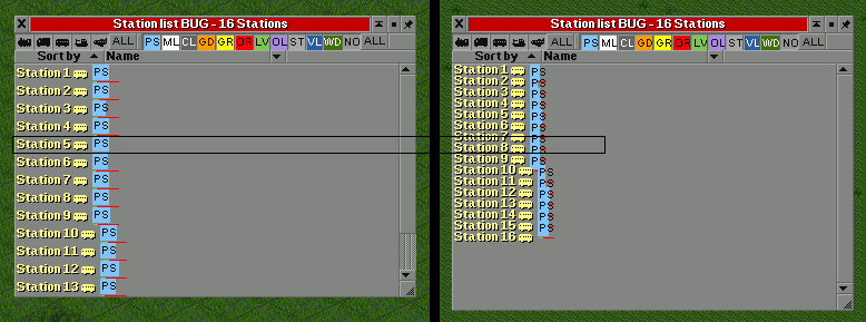 Station list bug