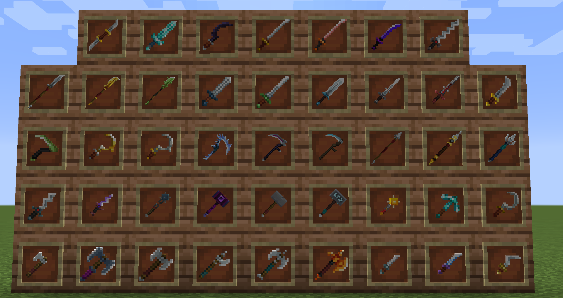 weapons added by mod on a wall of item frames with four rows of nine items and one row of eight items