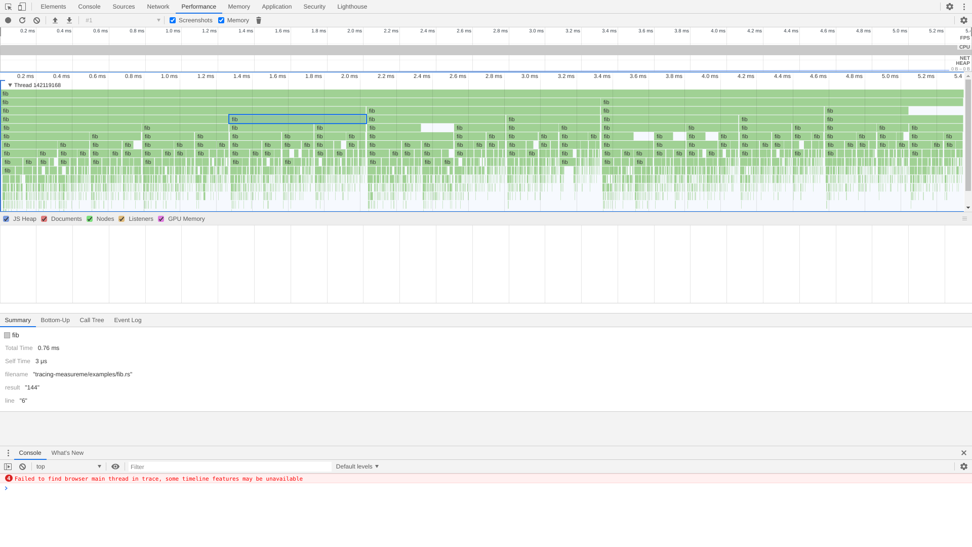 Chromium Profiler showing proper key-value information for the selected span