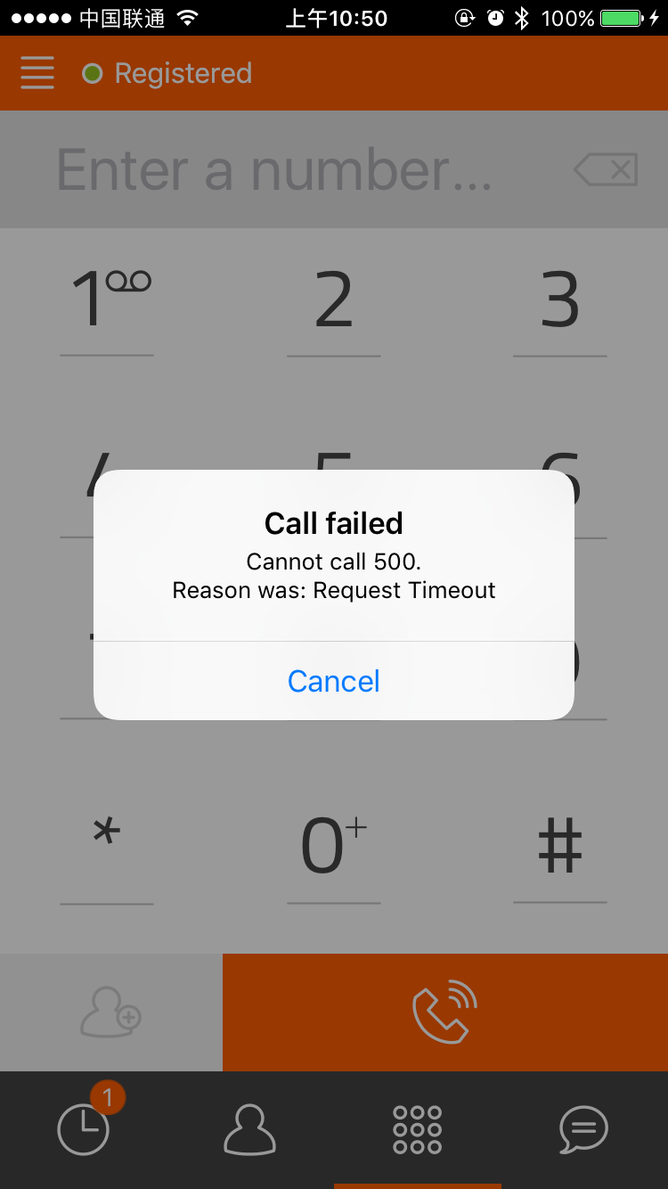 Outgoing call failed with 408 error will increase the missed