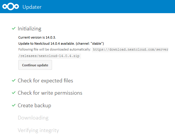 Update Nextcloud 14: Backup timeout will start upgrade from