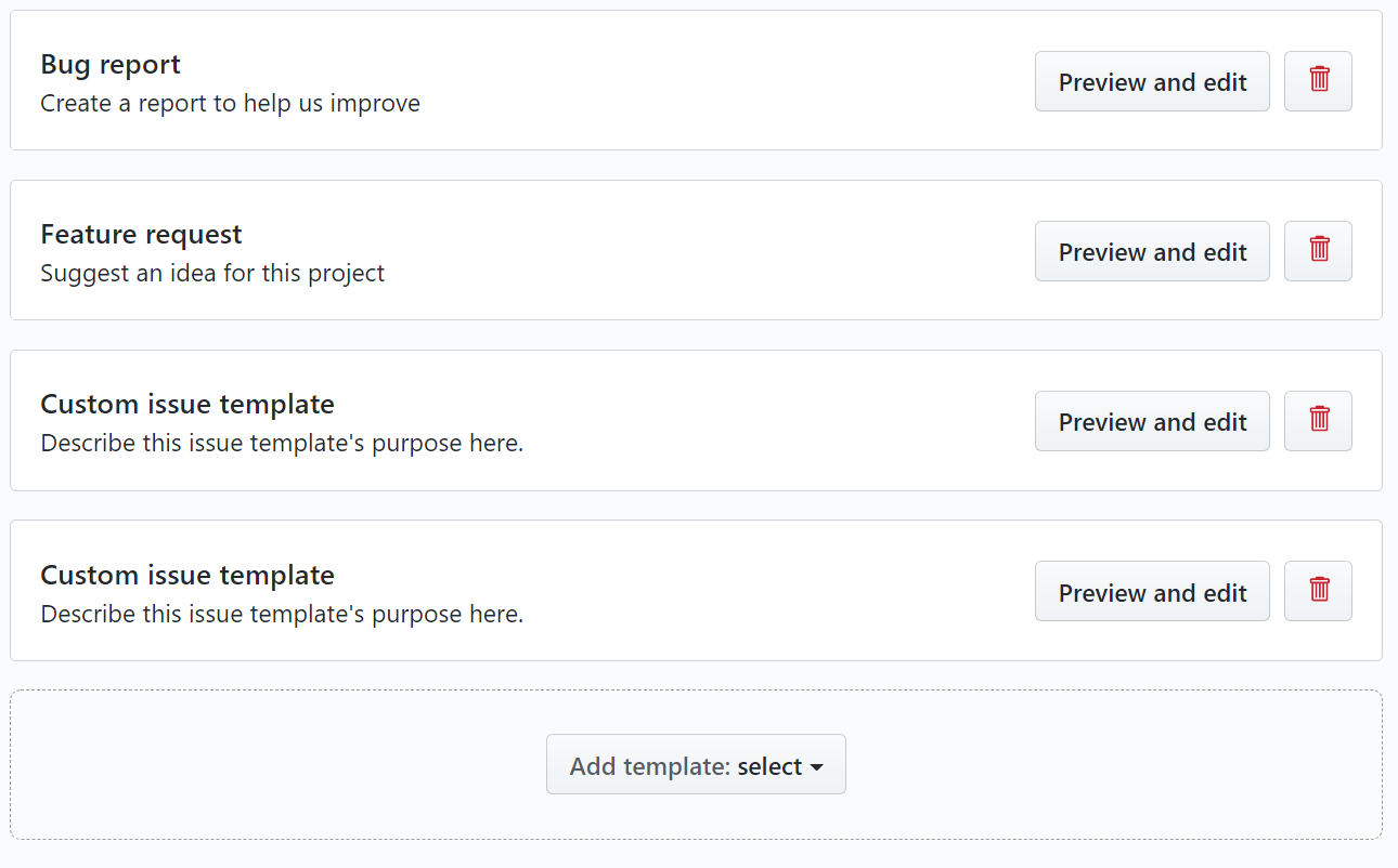 github issue add template