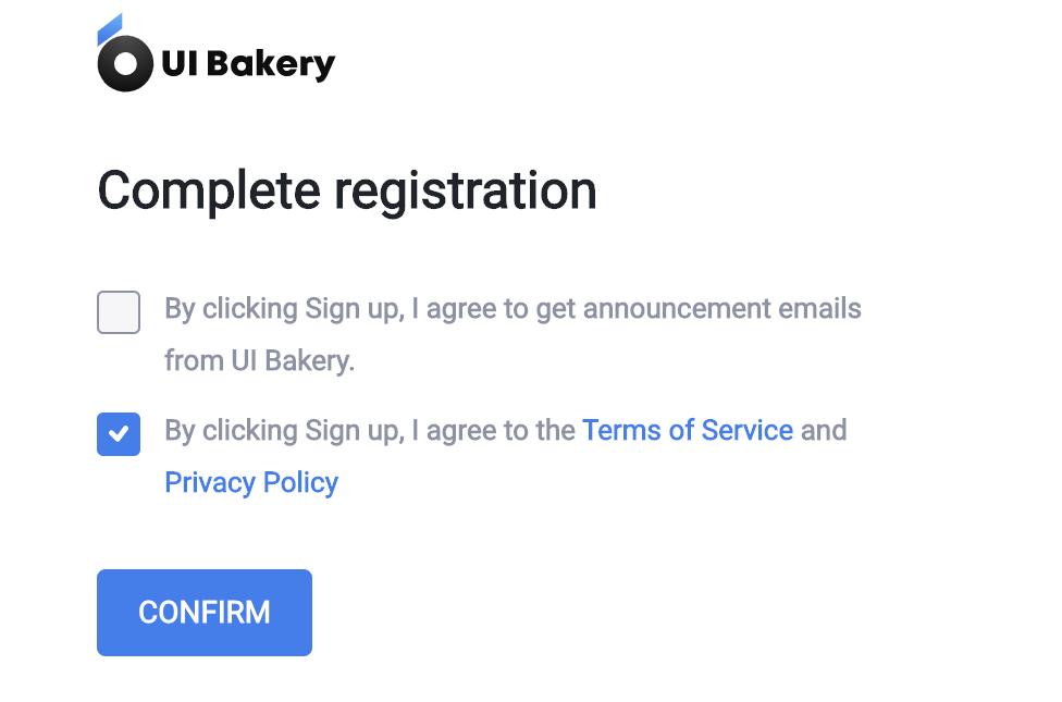 UI Bakery Registration