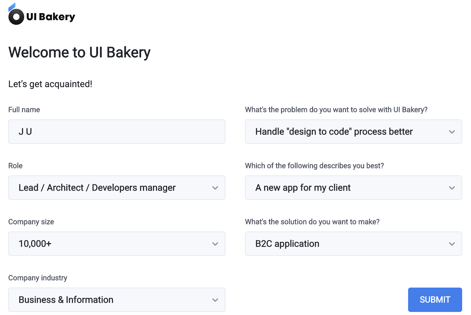 UI Bakery question