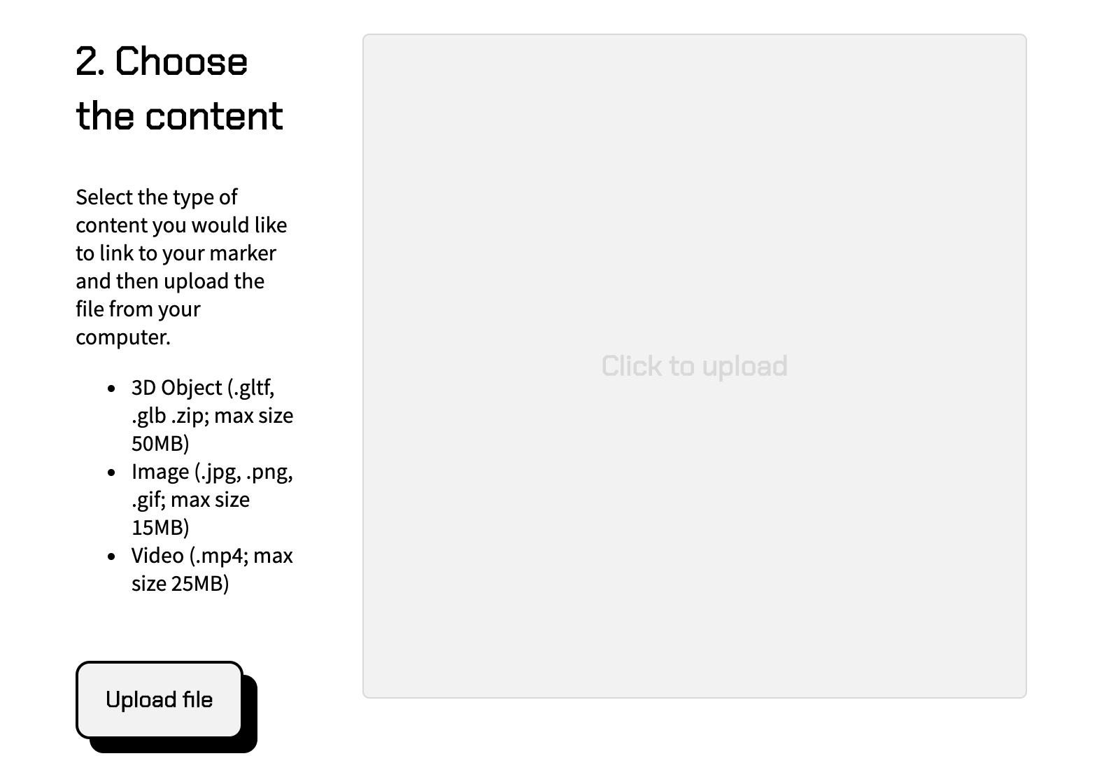 AR js choose the contents