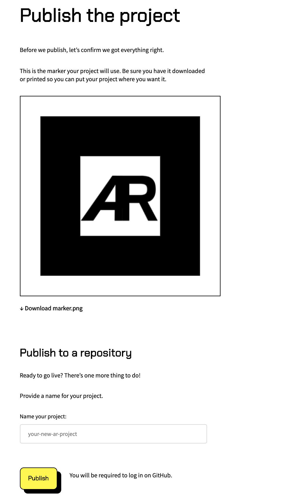 AR js Studio Publish the project