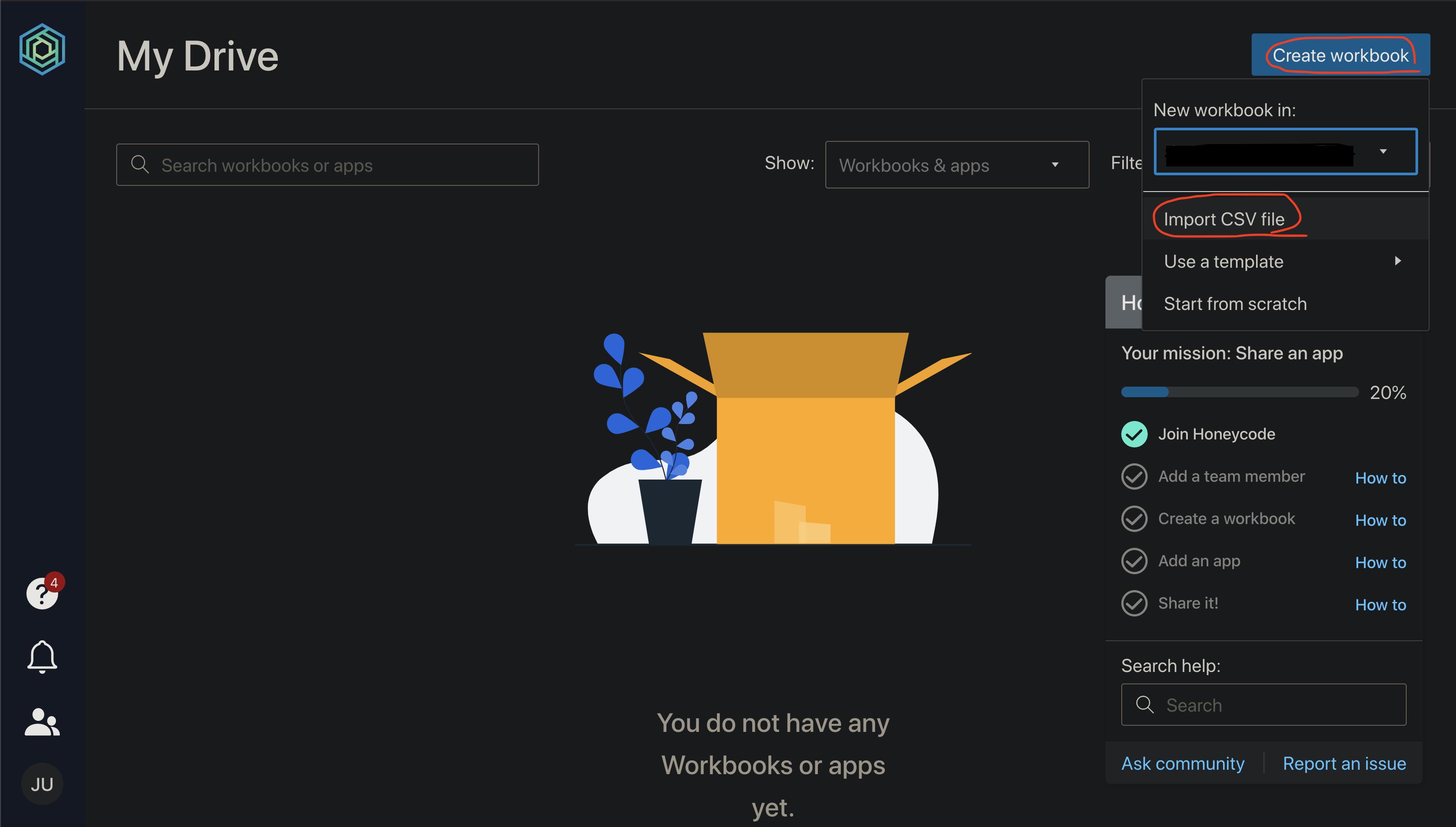 Amazon Honeycode サンプルデータのインポート