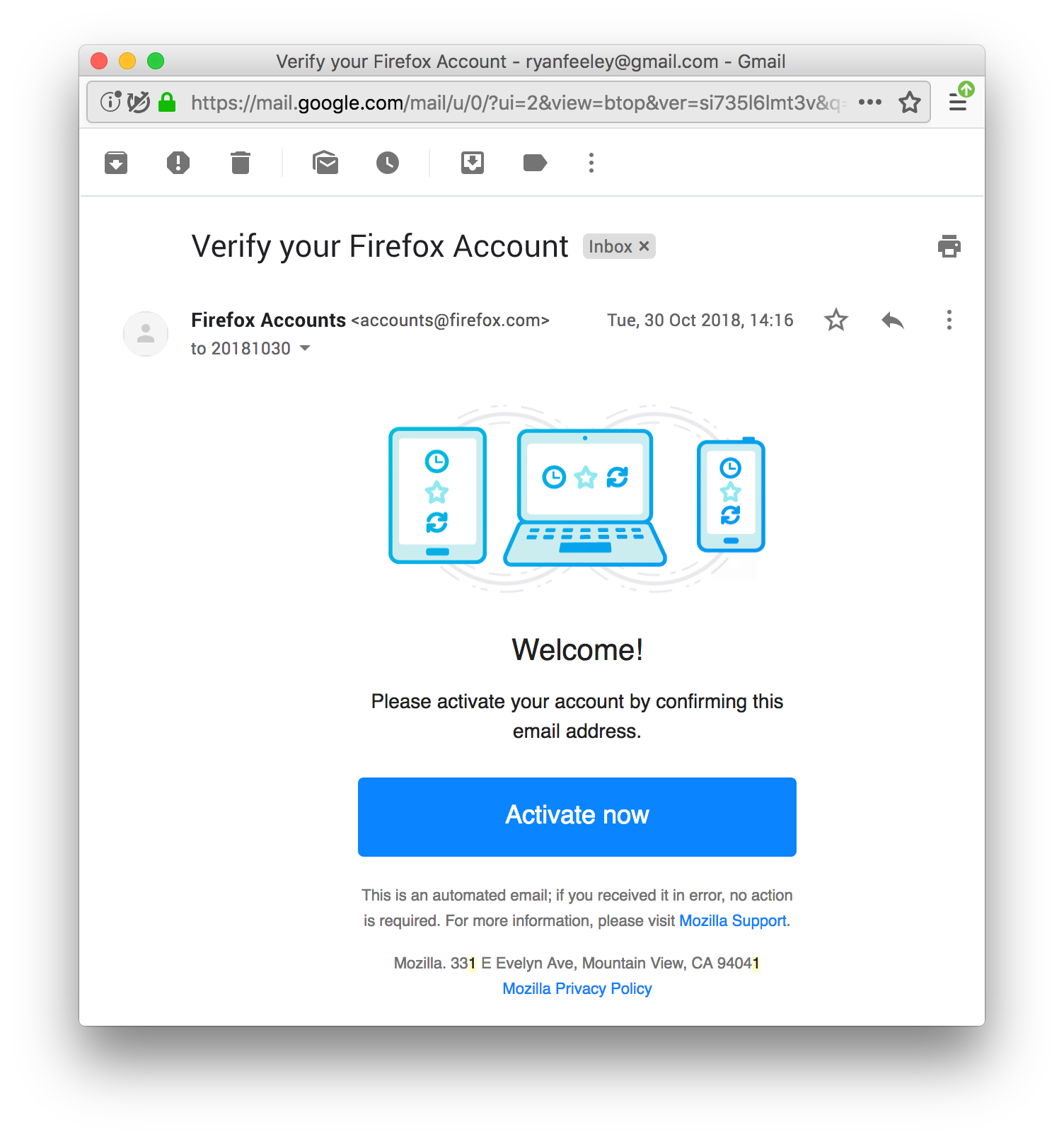 Update verification email for non-Sync FxA reliers · Issue