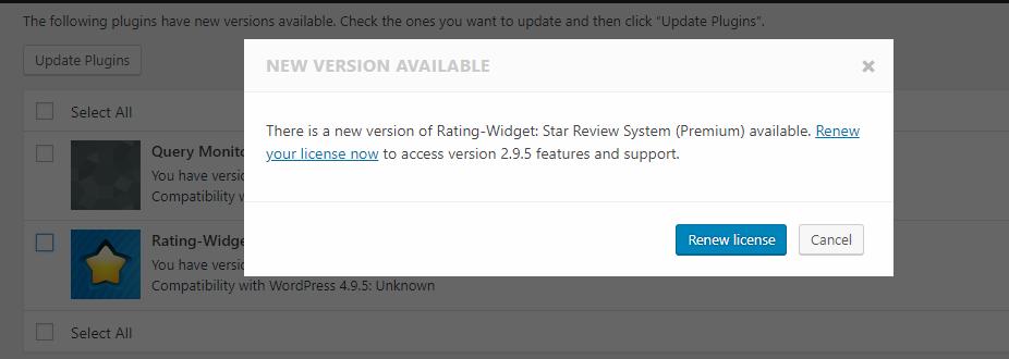 freemius-sdk-premium-update-no-license-dialog-box