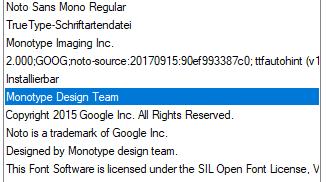 "Noto Sans Mono: fi ligature in ""liga"" seems unusual · Issue #1021"
