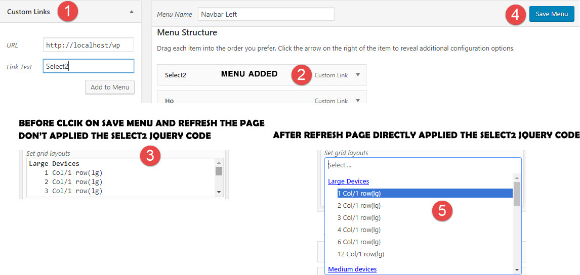 Select2 jquery code apply over select box after Save Menu