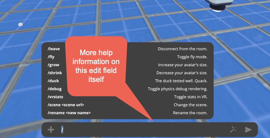 Text entry field available in Mozilla Hubs UI