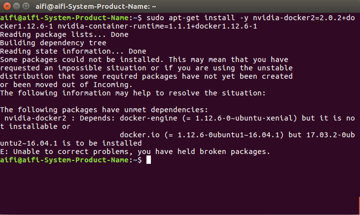 Ubuntu 16.04: nvidia-docker2 : The following packages have unmet