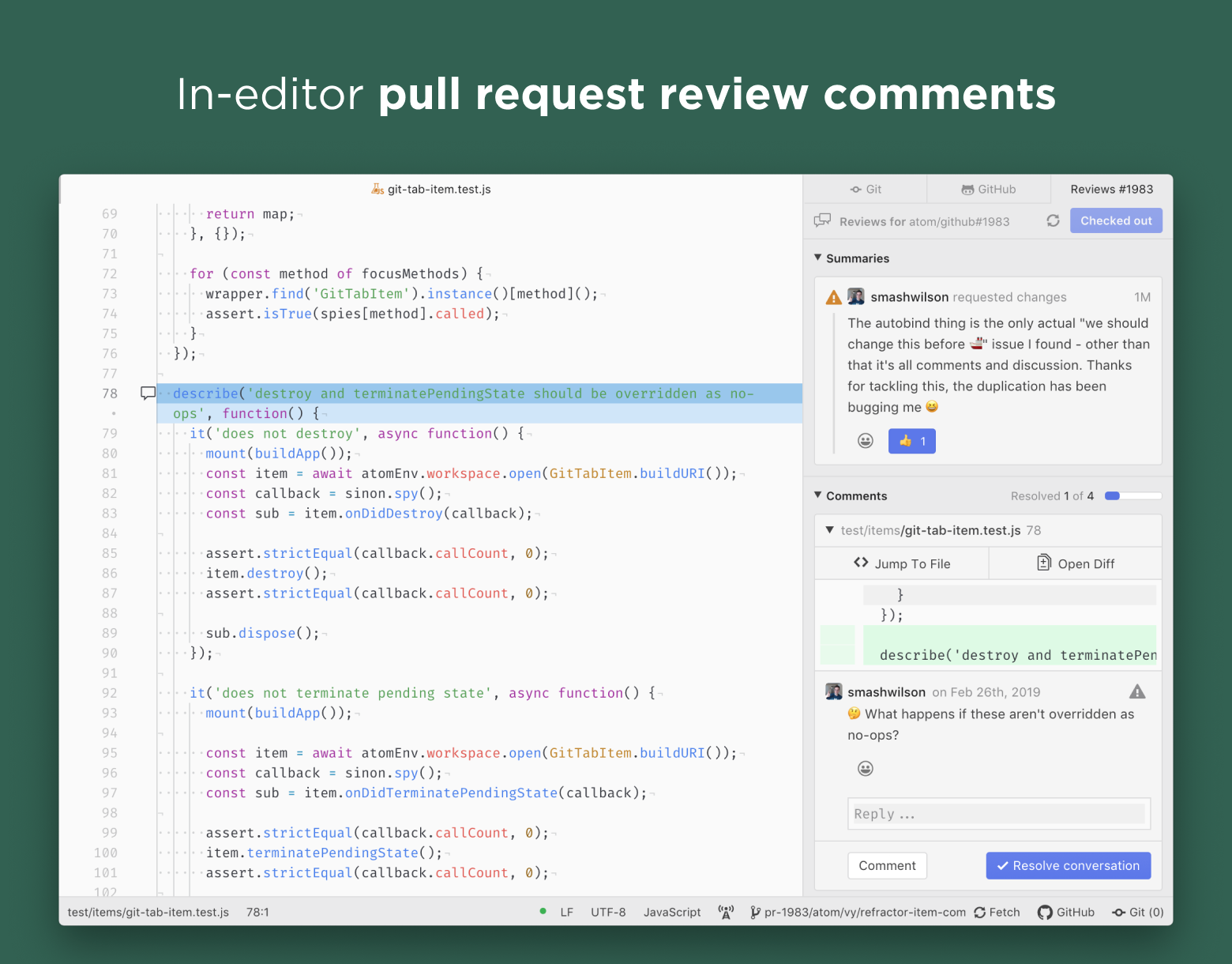In-editor pull request review comments