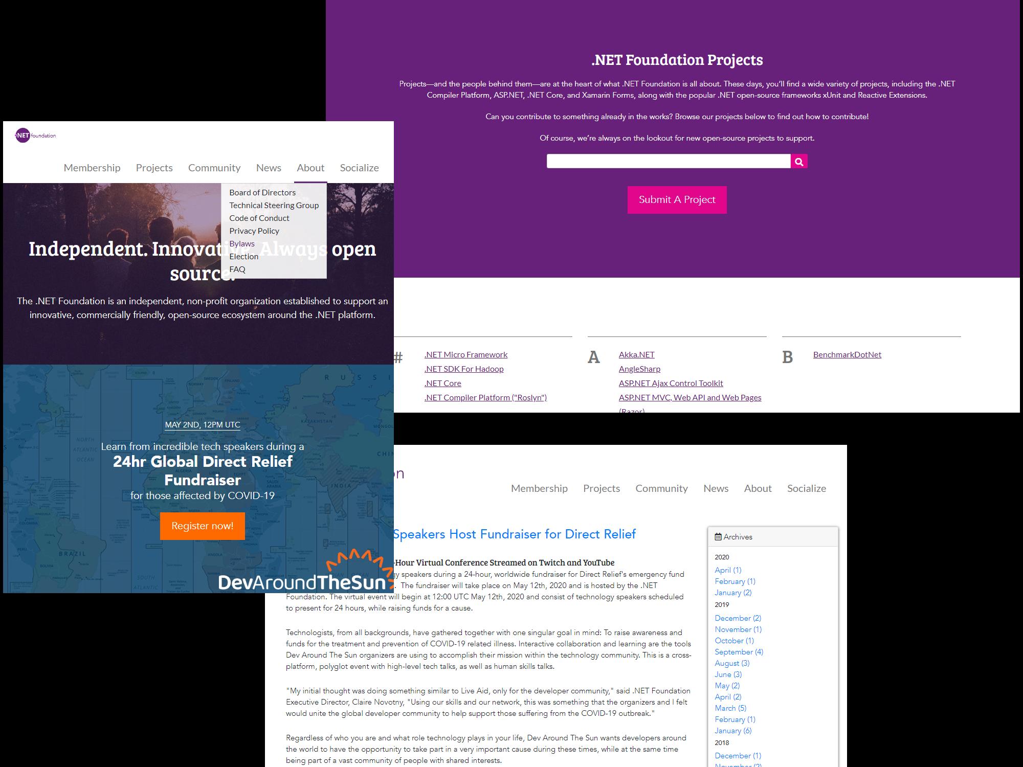 .NET Foundation new website screenshots