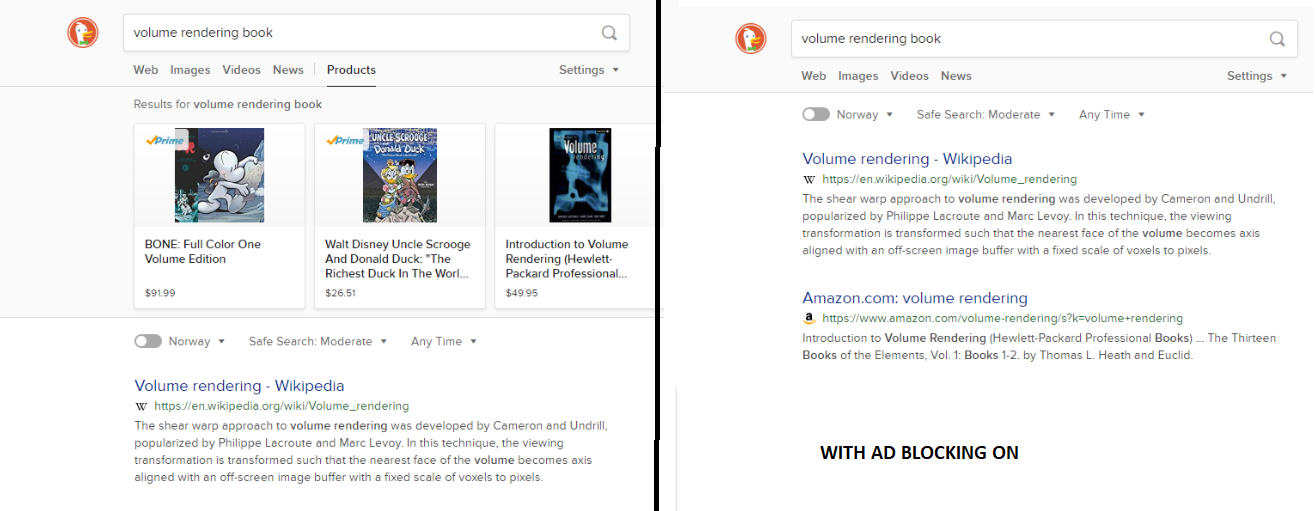 Brave Ad Block blocks DuckDuckGo ads but not Google search