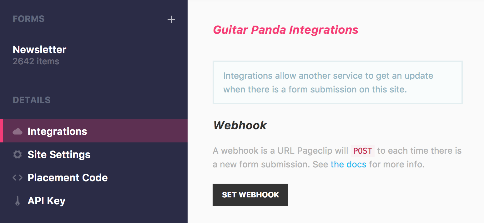 integrations tab, yo