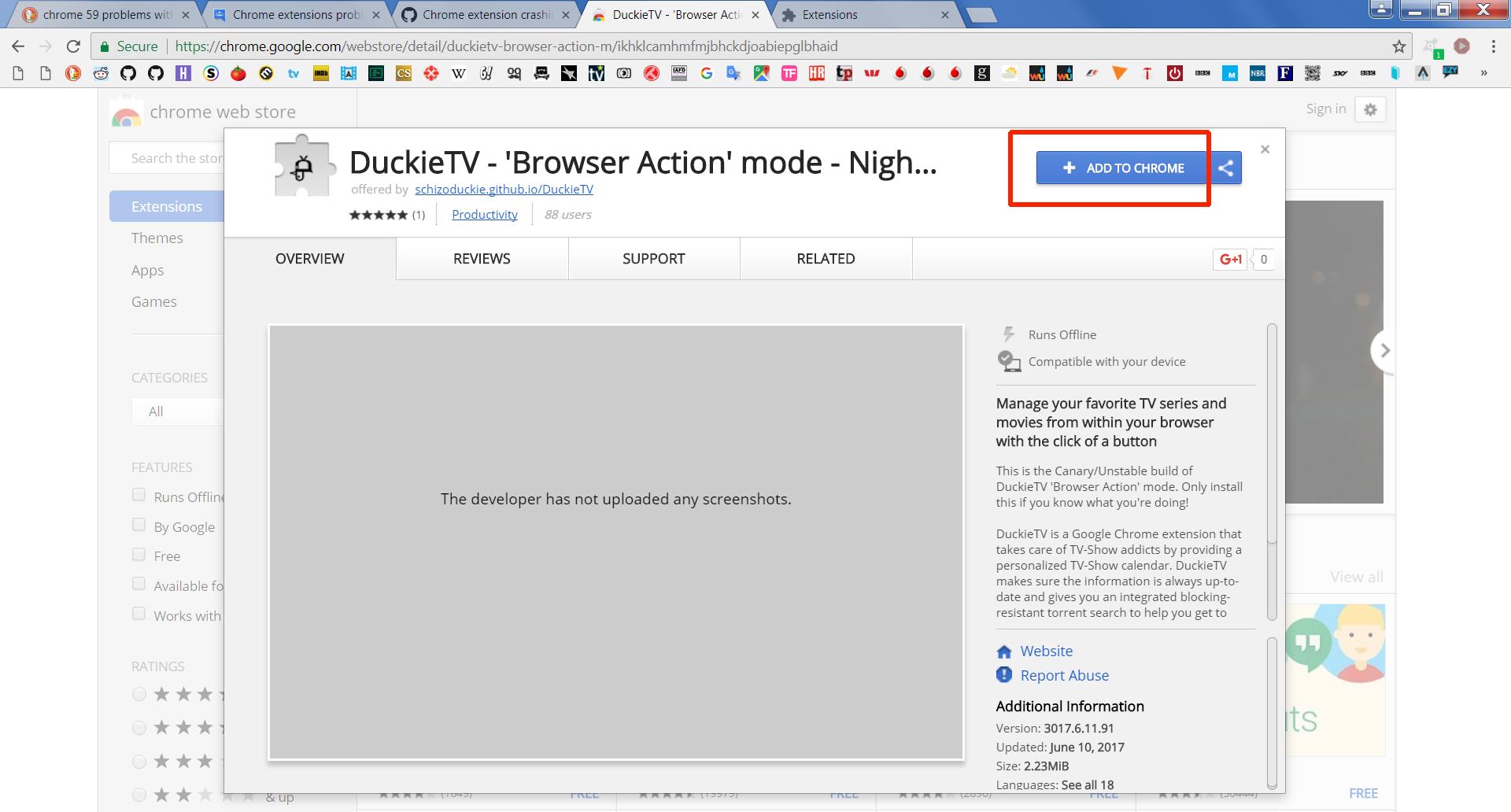 Chrome extension crashing · Issue #905 · SchizoDuckie/DuckieTV · GitHub