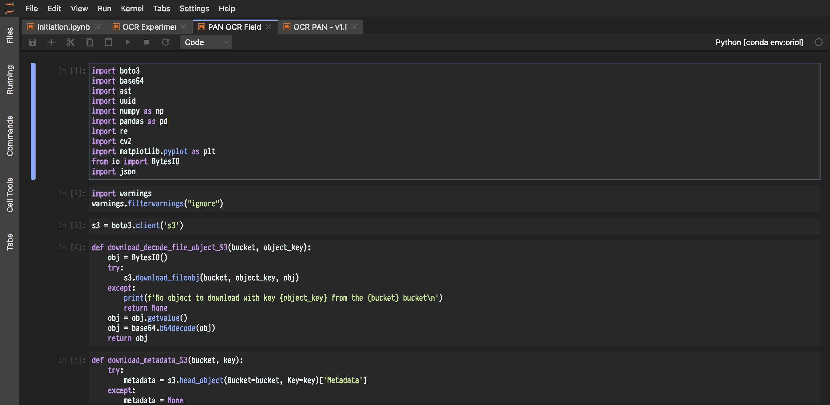 The Material Darker theme on JupyterLab