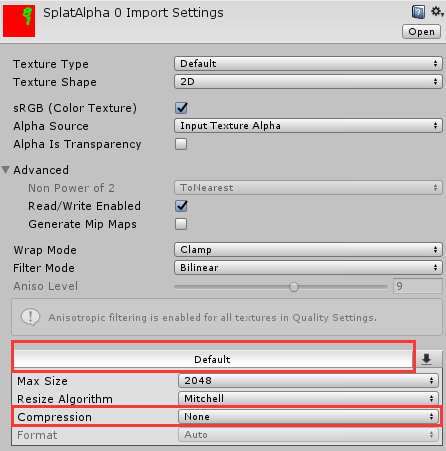 On Unity 2017 3 1f1, the import settings for the SplatAlpha textures