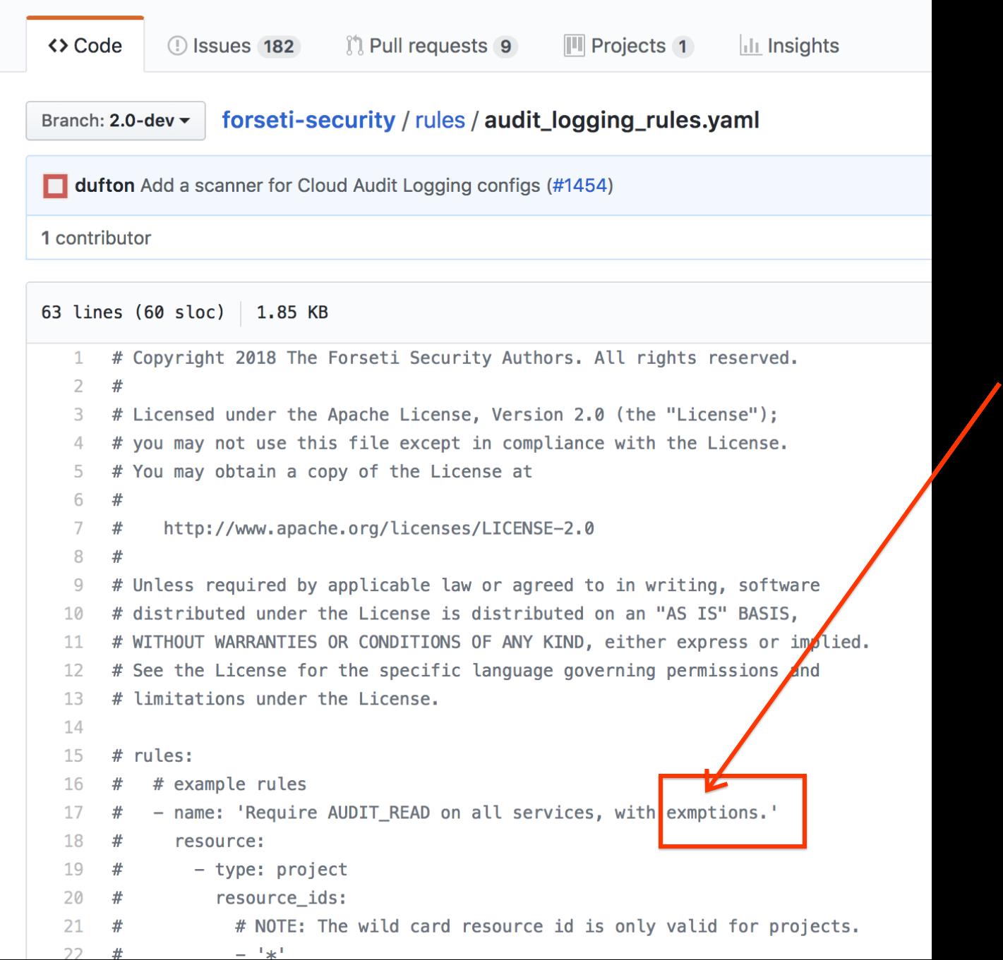 Fix Typo · Issue #1643 · forseti-security/forseti-security