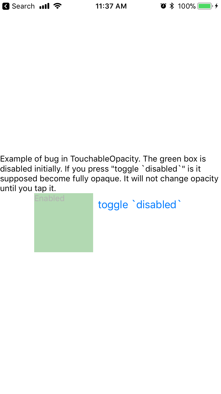 TouchableOpacity` does not let you control opacity when