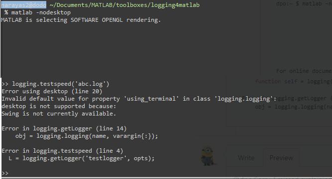 Error in creating logger while running matlab -nodesktop mode