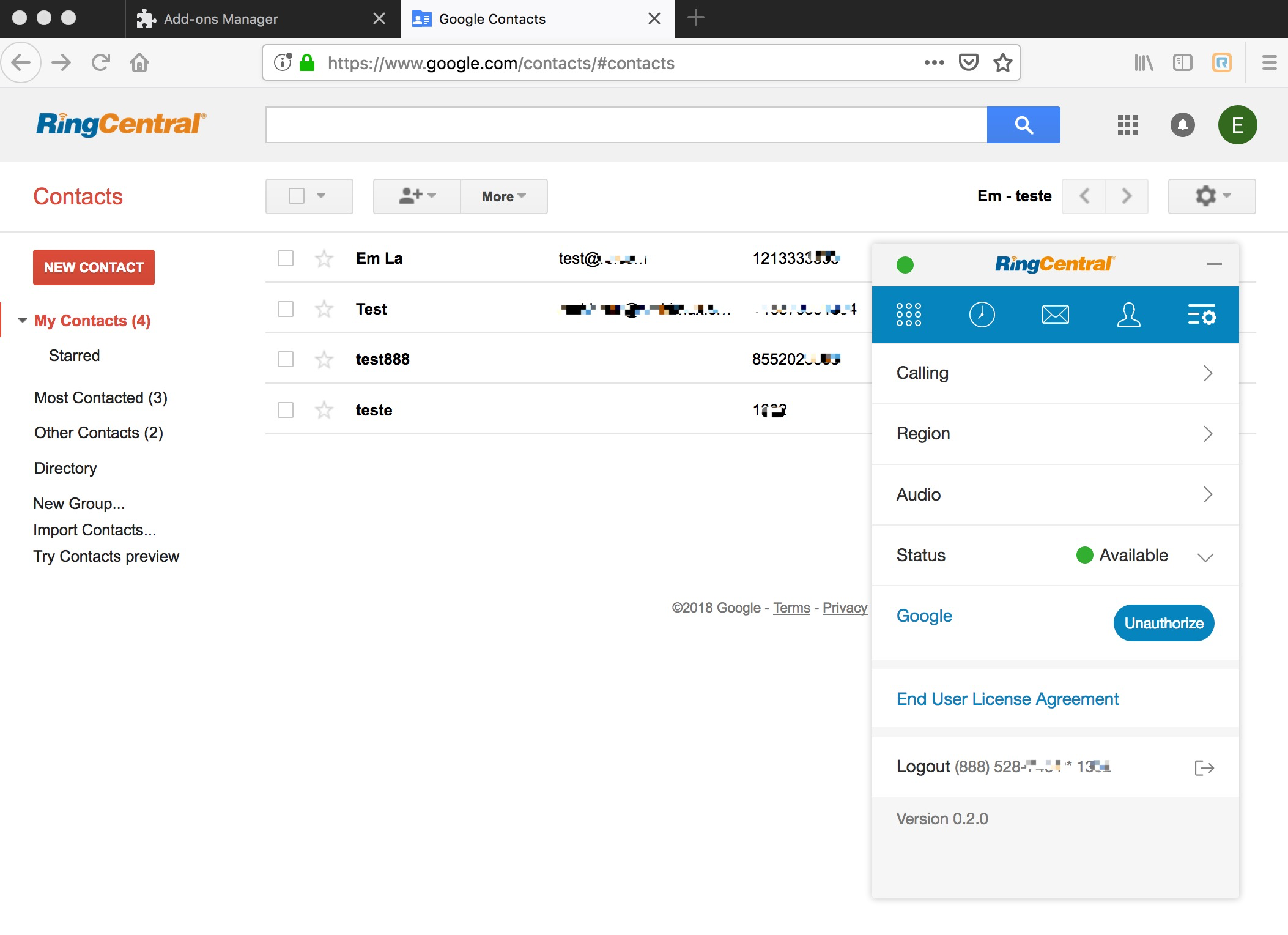 Google Contacts With RingCentral Embeddable