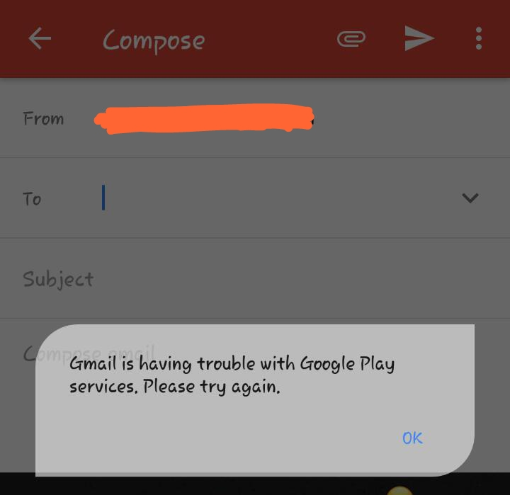 Gmail is having trouble with google play services · Issue