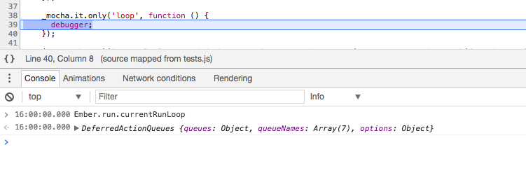 Existing run loop at the beginning of test interferes with `Ember