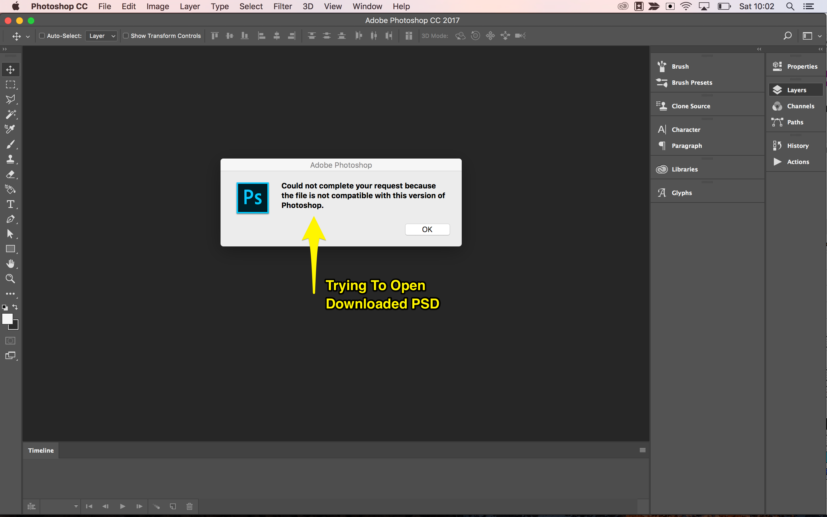 Error when opening saved PSD in various versions of photoshop