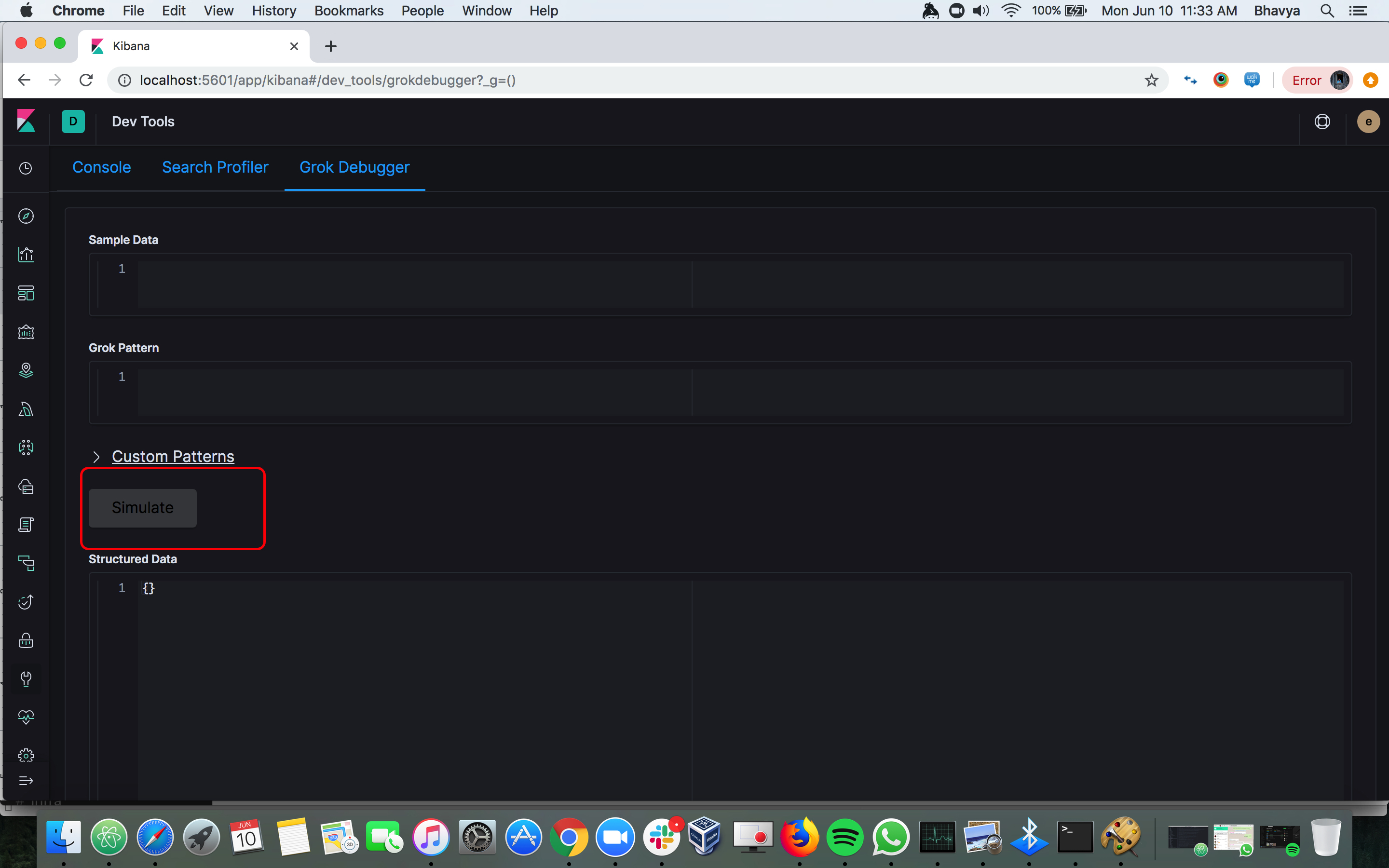 Simulate button on grok debugger is not visible in dark mode